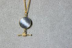 Collana lunga con pietra grigia collana lunga collana di Stonivine