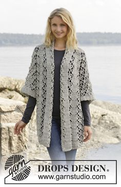 Shine like a star in this unique #crochet jacket by #dropsdesign. Pattern available for free online. #aw2014
