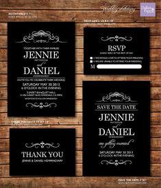 Hochzeit Einladung Ausdrucke Schwarzweiß von DallinsPaperie auf Etsy