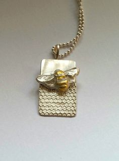 Silver and Gold Bee Necklace, Handmade Honeybee silver necklace,