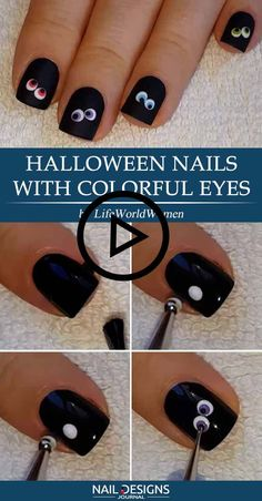 Halloween Nails with Colorful Eyes ? Creative but Easy Halloween Nails to DIY ? : Halloween Nails with Colorful Eyes ? Creative but Easy Halloween Nails to DIY ? Shellac Nails, Diy Nails, Cute Nails, Manicure, Gold Nails, Nail Nail, Cute Halloween Nails, Halloween Nail Designs, Halloween Horror
