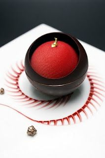 Olivier Bajard...love sauce love choc ball with sorbet