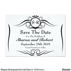 Elegant Monogram Save the Date Card is part of a new collection featuring a regal and royal theme in a black white design. Custom initials bride and groom with chic, simple and elegant features that are most popular