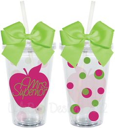 Teacher Appreciation Gift Apple Polka Dots 16oz Personalized Acrylic Tumbler.