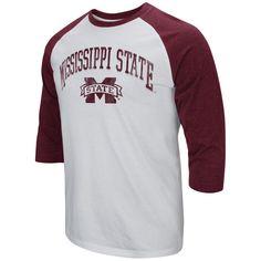Men's Colosseum White/Maroon Mississippi State Bulldogs 3/4-Sleeve Raglan T-Shirt