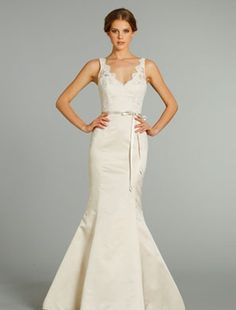 LOVING this one!!  Alvina Valenta  V-Neck Mermaid Gown in Silk  This mermaid gown features a v-neck neckline with a natural waist in silk and alencon lace. It has a chapel train and a tank top.    Style Number:32528291  Price:$ 2000 - 3000