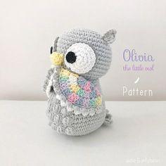 """PATTERN/ TUTORIAL (English) Amigurumi Owl - """"Olivia the Little Owl"""" pdf - US terminology"""