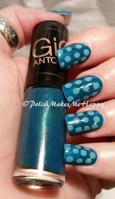 "Esmaltes Gio Antonelli - Hits Speciallita The base I used here is ""Conforto"", a dark teal and was opaque in 2 coats. This was very smooth to apply! To add some pop, I decided on a lighter teal from Cult Cosmetics, ""Playa Del Rey"". Love this mani!!!"