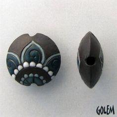 Golem Studios: Paisley Flower blue on dark