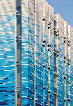 James and Taylor Colour Architecture, Brick Architecture, Architecture Details, Brick Design, Facade Design, Exterior Design, Unusual Buildings, Colourful Buildings, Rainscreen Cladding
