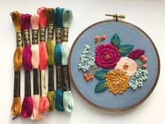 This kit is perfect for beginners who are trying embroidery for the first time or old pros looking for a pre-made design. There are a couple basic stitches needed for this pattern and they are explained in detail in the instruction booklet, included with your order. ---WHATS IN THE