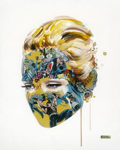 Montréal-based artist Sandra Chevrier gives us a look at her latest artworks called Super Heros Cages, where we get to see a collection of realistic female portraits camouflaged in comic book clippings, using mixed-media techniques that combines co. Sandra Chevrier, Painting Collage, Paintings, Body Painting, Fashion Painting, Portraits, Modern Artists, Creative Inspiration, Design Inspiration