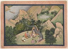 The sage Bharadvaja, seated in his wilderness forest shelter, gives counsel to Rama, Sita, and Lakshmana.He tells them of an auspicious retreat frequented by great rishis, which is both sacred and beautiful, where they might dwell for the duration of their fourteen-year exile