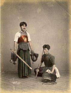 Kendo Players, circa 1870's. Japan.