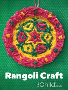 Beautiful Rangoli paper plate craft for children to celebrate Diwali.