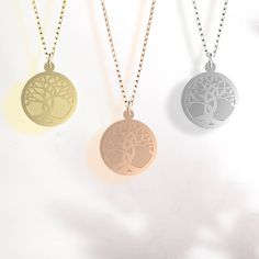 Celebrate the beauty of nature and life with this solid gold disc pendant.🌳 Gold Necklace, Pendant Necklace, Tree Of Life Pendant, New Leaf, Solid Gold, Pendants, November, Collection, Jewelry