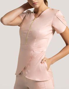Tulip Top in Blushing Pink - Medical Scrubs by Jaanuu Spa Uniform, Scrubs Uniform, Jaanuu Scrubs, Beauty Uniforms, Stylish Scrubs, Cute Scrubs, Scrubs Outfit, Medical Uniforms, Nursing Uniforms