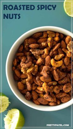 roasted spicy nuts, spicy nuts, roasted nuts, healthy snack, vegan, vegetarian, gluten free, low carb  l www.prettypatel.com