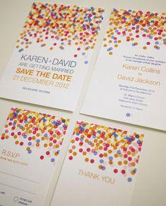Colorful Confetti - Wedding Invitation Set (PRINTABLE) -