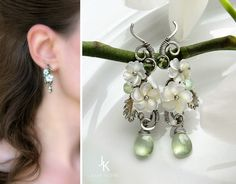 Wire wrapped silver floral earrings with pearl flowers, leaves and and prehnite briolettes by Julia Kotre