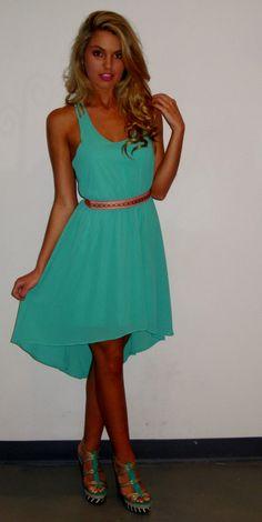 Mint Chiffon Hi-Low Dress