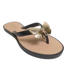 This Black Butterfly Glenn Flip-Flop by Bamboo is perfect! #zulilyfinds