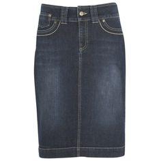 kew.159 Denim Knee Length Skirt, Washed Indigo ($40) ❤ liked on Polyvore