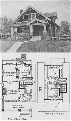 I love the idea of using old bungalow floor plans as a guide.  R. E. Green - Plan 181 - Bungalow