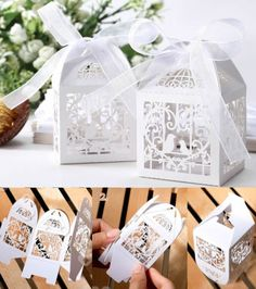 50pcs Love Heart Bird Cage Hollow Party Wedding Favor Candy Gift Box with Ribbon in Home & Garden, Wedding Supplies, Wedding Favors | eBay