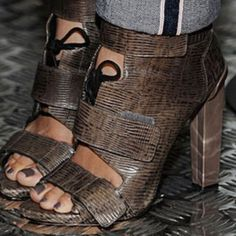 ALEXANDER WANG Noemi Combat Boots Peep toe  Three Velcro straps  Quilted leather panel on back  High heel booties  Lizard embossed leather  4in Heels  **Priced low because heels have scratches Alexander Wang Shoes Ankle Boots & Booties