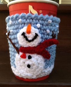 Snowman Cup Cozy by CupCozyCrazy on Etsy
