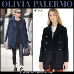 Olivia Palermo in dark blue navy pea coat and black leather pants