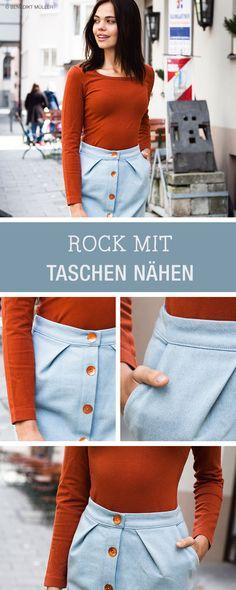 Kostenlose Nähanleitung und Schnittmuster für einen Bleistifrock mit Taschen / free sewing pattern and tutorial for a pencil skirt with buttons via DaWanda.com