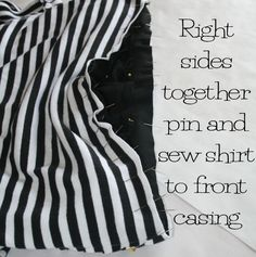 DIY Striped T Shirt Dress 8. Joins shirt to skirt via a 2-piece casing that helps build in elastic.