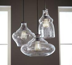 Pottery Barn Lighting, Farmhouse Lighting, Pottery Barn Pendant Lights, Industrial Farmhouse, Glass Pendant Light, Glass Pendants, Pendant Lighting, Seeded Glass Cabinets, Dining Room Lighting