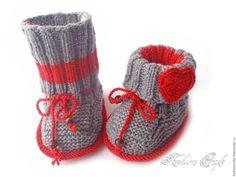 Купить Пинетки сапожки с сердечками - серый, сердце, пинетки с сердцем, пинетки вязаные