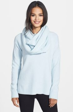 9a37331868e949 Free shipping and returns on Pure Amici Waffle Knit Cashmere Sweater with  Infinity Scarf at Nordstrom