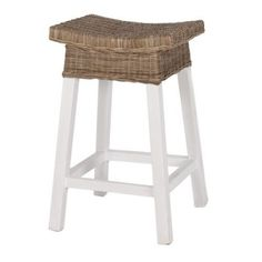 Shop Island White Wood and Rattan Stool at Interiors Online. Exclusive High End Furniture. OFF First Order & Australia Wide Delivery White Wood Bar Stools, Rattan Counter Stools, Rattan Stool, White Chairs, High Stool, Interiors Online, Kitchen Benches, Country Interior, Online Furniture