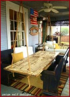 Fab hanging antique door table and swing made from antique doors Oh em gee Old Door Projects, Home Projects, Crafty Projects, Upcycling Projects, Repurposed Furniture, Pallet Furniture, Repurposed Doors, Reclaimed Doors, Rustic Furniture