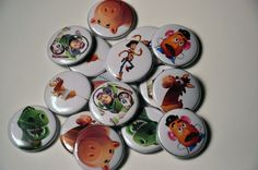 These buttons are made with a standard flat back..perfect for gluing on just about any surface. You can make them into magnets, hair bows, and can