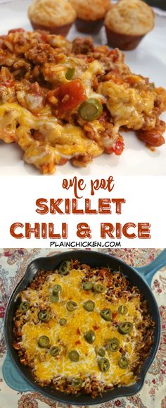One Pot Skillet Chili and Rice - everything cooks in the same skillet! Ground beef tomatoes chili beans rice water tomato paste cheese and jalapeños - ready in 20 minutes! Great quick and easy weeknight meal! Top Recipes, Chili Recipes, Meat Recipes, Mexican Food Recipes, Dinner Recipes, Cooking Recipes, Healthy Recipes, Casserole Recipes, Oven Recipes