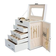 Homde Synthetic Leather Huge Jewelry Box Mirrored Watch Organizer Necklace Ring Earring Storage Lockable Gift Case (White) * You can find more details by visiting the image link. (This is an affiliate link) Leather Jewelry Box, White Jewelry Box, Small Jewelry Box, Jewelry Case, Fine Jewelry, Earring Storage, Jewellery Storage, Jewelry Organization, Office Organization
