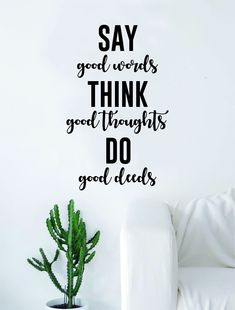 Say Good Words Think Good Thoughts Quote Decal Sticker Wall Vinyl Art Home Decor Inspirational Yoga Beautiful - orange