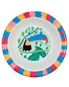 A bright and cheerful Jungle bowl with a magnificent Toucan eyeing a insect on it's beak. It is part of Petit Jour Paris' new range for. Pull Along Toys, New Paris, Wood Toys, Plates, Tableware, Minimum, Unique, Inspiration, Bowls