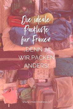 Die ideale Packliste, nur für Frauen! Denn ja, wir packen anders. #frauenreisensolo #alleinreisende #packliste via @pinkcompass