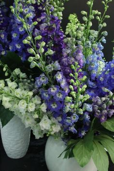 LOVE these delphinium!! Would be ok with lots of longer stems of these, lilacs, maybe lily of the valley?