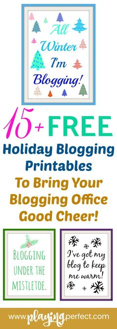 Hooray, holiday blogging is here and so are your blogging holiday printables! Blogger, here are 200 winter blog post ideas for you, 15+ blogger holiday printables for your blog office or for anywhere you want to put them, and also we have freebie ideas and even some opt-in headline ideas! Merry blogging! FREE printable! | playingperfect.com