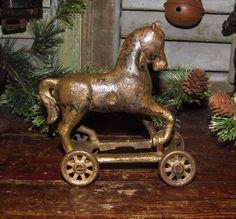 Original Antique Vtg Cast Iron Kenton Arcade Circus Horse on Wheels Bank Toy