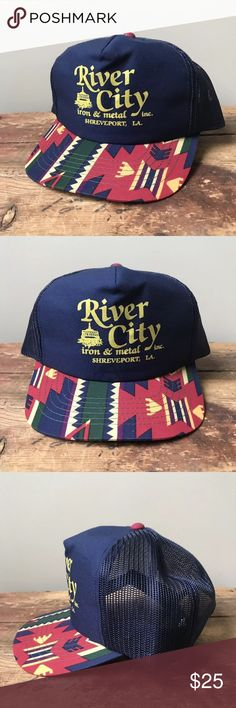 28bf46d159f Vintage Snapback Trucker Hat River City Shreveport Vintage Snapback Trucker  Hat River City Iron   Metal