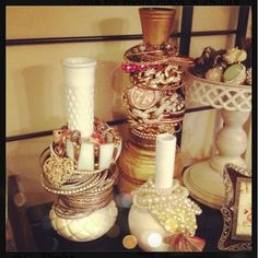 BrittsFavThings: This into That! Turn old vases into bracelet holders! DIY on this blog.